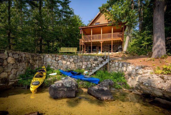 Katahdin cedar log home on the lake