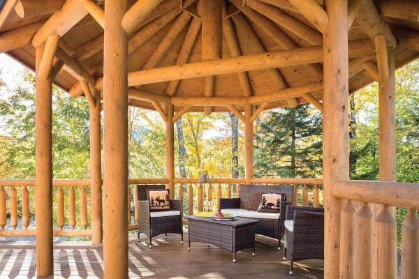 Outdoor gazebo space with lounging furniture
