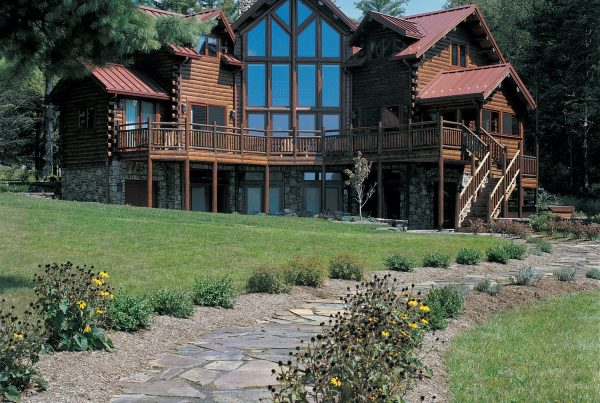 Exterior multi level custom Katahdin cedar log home