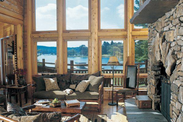 Custom log home interior great room
