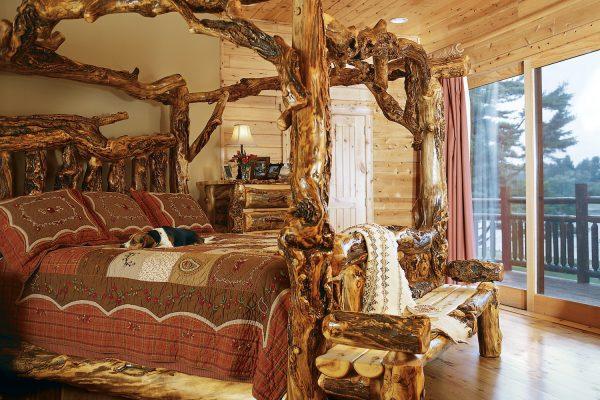 Custom master bedroom wooden bed