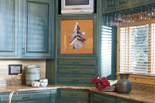 Custom blue kitchen cabinetry