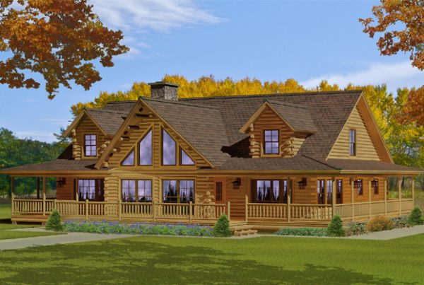 Rendering of the Bonanza log home.