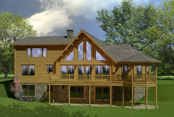 Rendering of the Chateau log home.