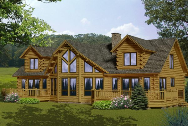 Rendering of the Lakeview log home.