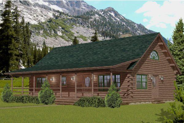 Rendering of the Lakewood log home.