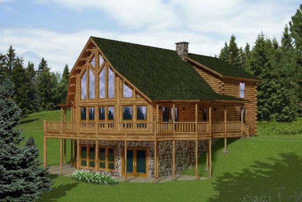 Rendering of the Overlook log home.