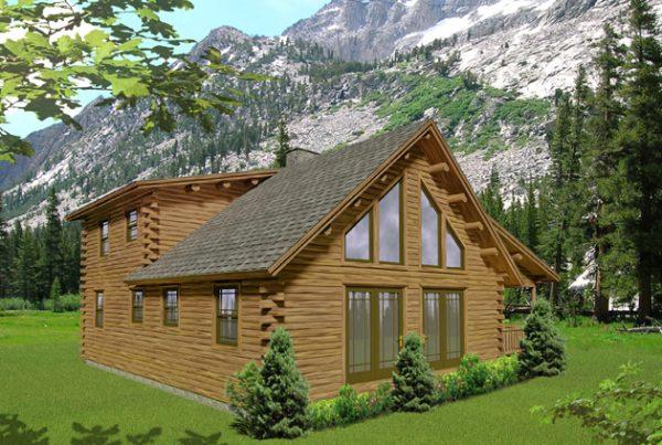 Two story log home rendering.