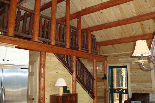 Rustic exposed wooden ceiling beams.