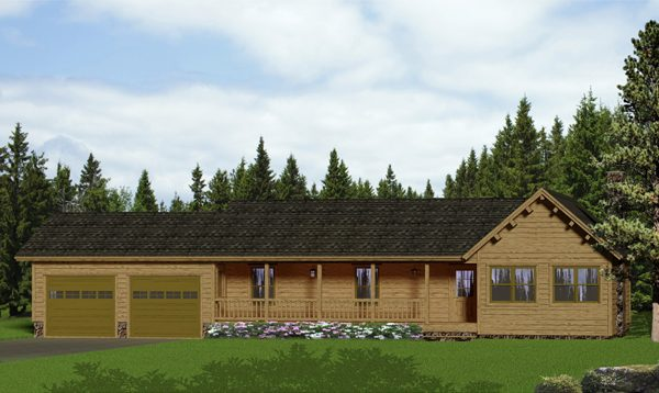 one story log home with a double garage