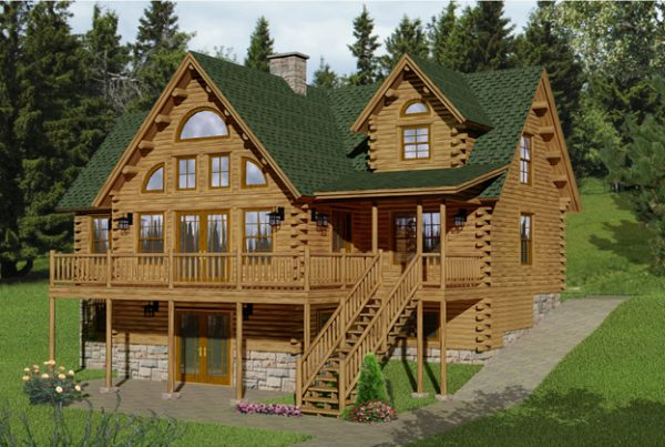 Rendering of the Sebec log home.