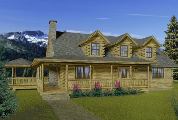 Rendering of the Shasta log home.