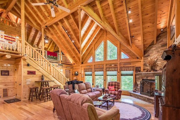 Interior open living room of custom log home.