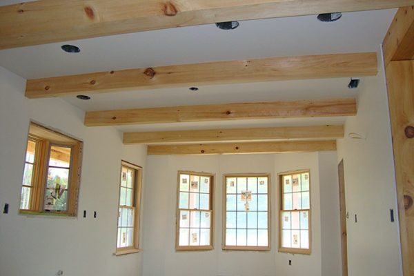 Gorgeous exposed wood ceiling beams.