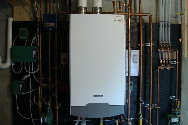 An on demand water heater in one of the homes built by Big Twig Homes.