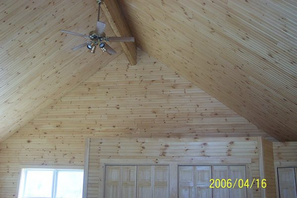 The tongue and groove pine ceiling of the Winslow home.