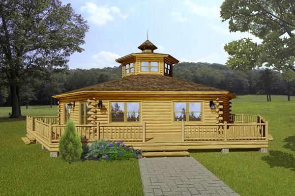 Rendering of the Acadian log home.