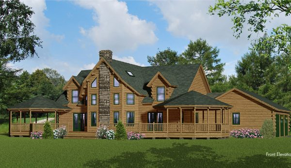 Rendering of the Baltic model log home.