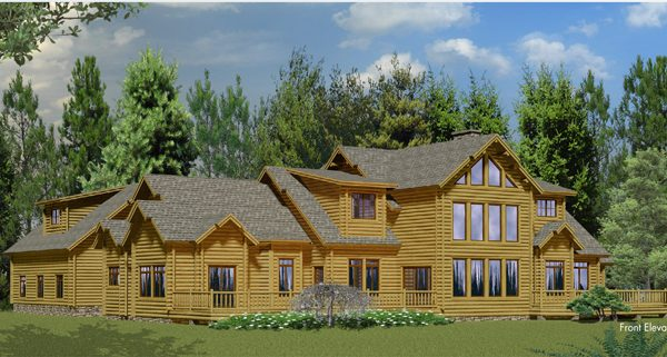 Rendering of a contemporary model log home.