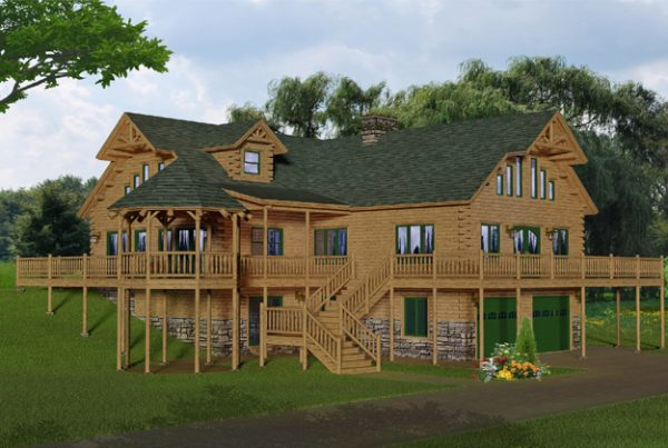 Rendering of the extreme model log home.