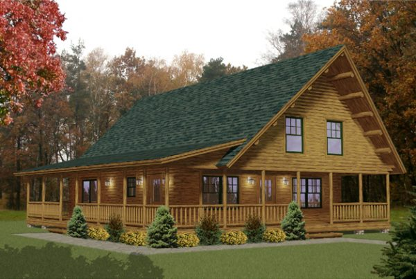 Rendering of the Hamilton log home