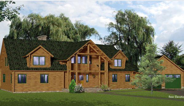 Rendering of the moose log home.