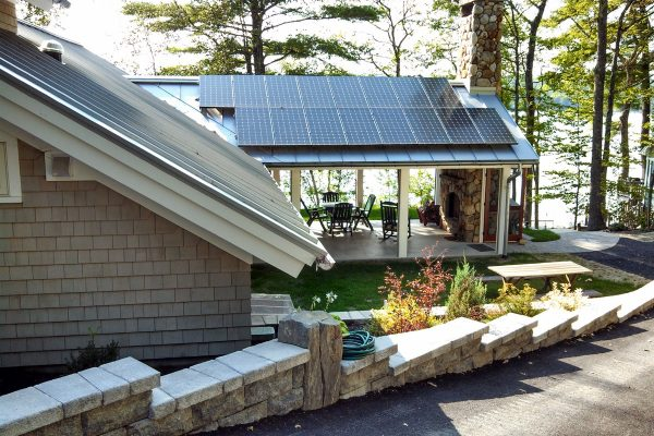 Sun room with solar panels on the roof