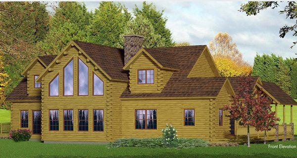 Rendering of the Western model log home.