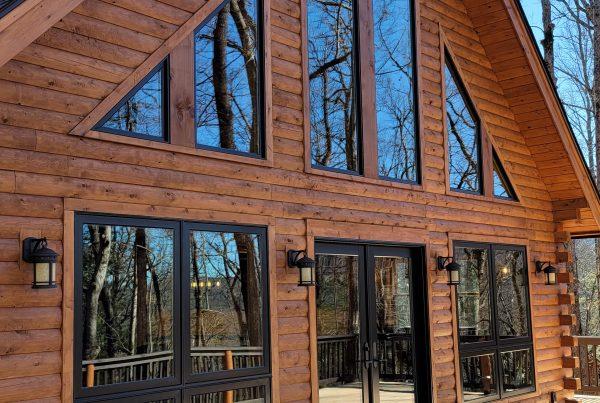 Front of a Katahdin Cedar Log Home kit