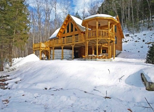 exterior shot of custom built home in winter time