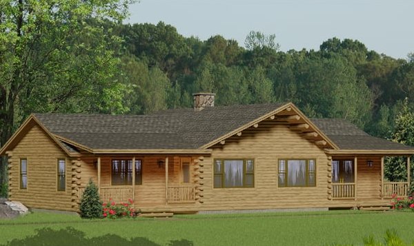single story log home